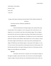 rels final copy reearch essay islam christianity pages  6 pages compare and contrast christianity and islam nature of the afterlife and nature of the divine essay