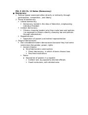 POL S 102 Ch. 11 Notes (Democracy)