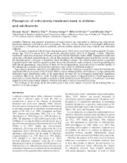 3 Perception of orthodontic treatment need in childrena nd adolescents