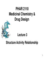 Lecture 3 Structure Activity Relationship