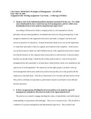 Writing assignment Case Study - A Shortage of Policies