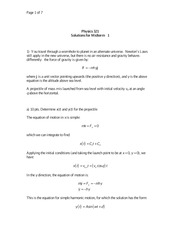 PHYS 321 Fall 2010 Midterm 1 Solutions