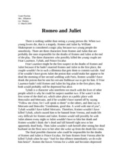 Romeo and juliet reflective essay