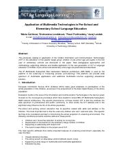 [5] Application of Multimedia Technologies in Pre-School and