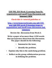 UOP PHL 320 Week 3 Learning Team Re-organization and Layoff Team Discussion and Summary NEW
