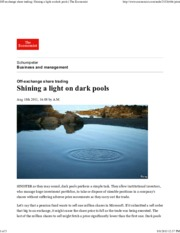 The Economist - Off Exchange Share Trading Shining a Light on Dark Pools