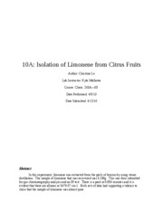 chirality isolation of limonene from Laboratory 7 stereochemistry and polarimetry  classroom discussion of the topic of chirality or  such as r- and s-carvone and r- and s-limonene.