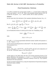Final Exam Solution on Introduction to Probability