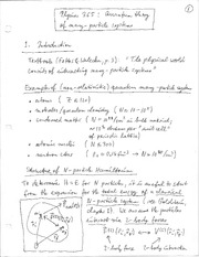 Physics 365_Class Notes on Introduction to Quantum Theory of Many-Particle Systems