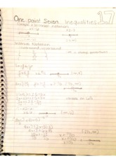 College Math 1.7  InequalitiesNotes