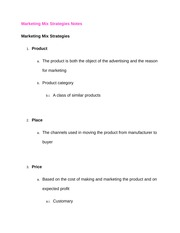 Marketing Mix Strategies Notes