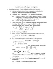 Liquidity Insurance Theory of Banking notes