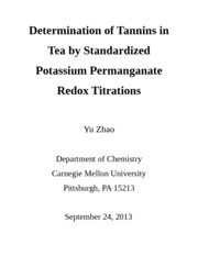 Determination of Tannins in Tea by Standardized Potassium Permanganate Titrations
