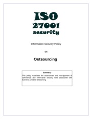 ISO27k Model policy on outsourcing