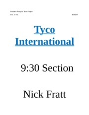 Business Analysis Term Project-Tyco International
