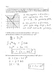 Exam 1 Solution Spring 2004 on Ordinary Differential Equations