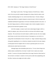 The Best Essays Peter Singer Article Summary  Eng C Summary Ofthe Singer Solution To World  Poverty Peter Singers Article Titledthe Singer Solution To World How To Write A Compare Contrast Essay also Teaching Experience Essay Peter Singer Article Summary  Eng C Summary Ofthe Singer  Claim Of Policy Essay Topics