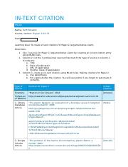 In Text Citation Worksheet