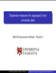 M2VL2 Dispersion measures for ungrouped (raw) univariate data