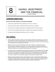 Chapter 8 Lecture (Savings, Investment, and financial system)