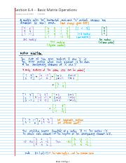 Lecture Notes -- Section 6.4 -- Basic Matrix Operations
