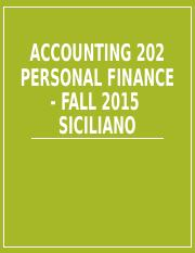 Personal Finance Spring 2016 ACC 202 - Student