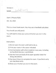 Exam 2 Solutions 2014