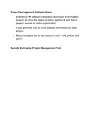 Project Management Software Notes