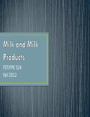 Lecture IIX   Milk and Milk Products