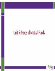 FNSV 200_Unit 6_Types of Mututal Funds