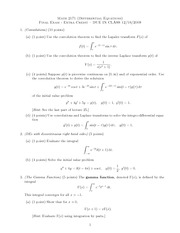 Final Exam Fall 2009 Extra Credit  on Ordinary Differential Equations