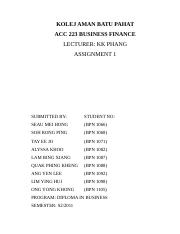 ACC 223 BUSINESS FINANCE (Assignment 1).docx