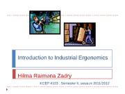 (1) Introduction to Industrial Ergonomics