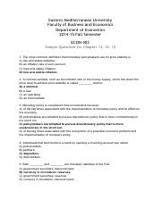 ECON403 sample questions for chapters 13-5 Answers