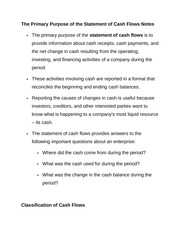 The Primary Purpose of the Statement of Cash Flows Notes
