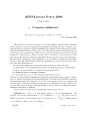 Computer Arithmetic Notes