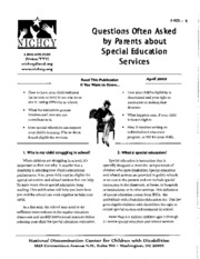 H8 - Questions Often Asked by Parents about Special Education Services