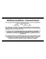 Shifting Equilibria- Concentration