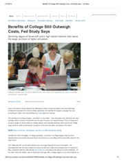 Benefits of College Still Outweigh Costs, Fed Study Says - US News
