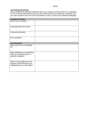 Employment Messages-Job Package Worksheet