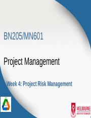 BN205_MN601_Lecture4 -  Project Risk Managment.ppt