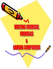 8 - Writing Chemical Formulas & Naming Compounds