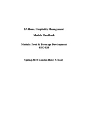 Food and Beverage Development Handbook - LHS Students