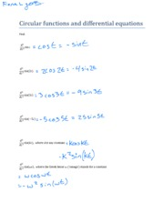 Circular functions and differential equations