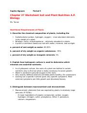 Chapter 37 Worksheet Soil and Plant Nutrition A