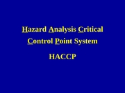Lecture 15 The HACCP Concept 1