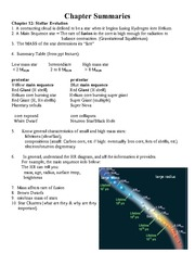 Summary Chapter 12 Stellar Evolution