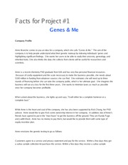 L311 Facts for Project 1