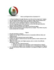 Mexico and Review Questions