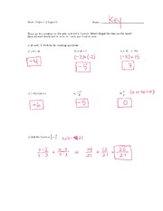 Math 115 Quiz 1 Key on Algebra